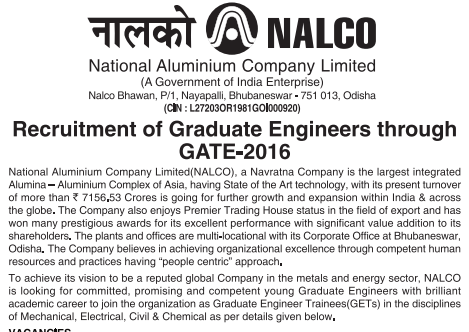 NALCO GATE 2016 Recruitment of Engineers
