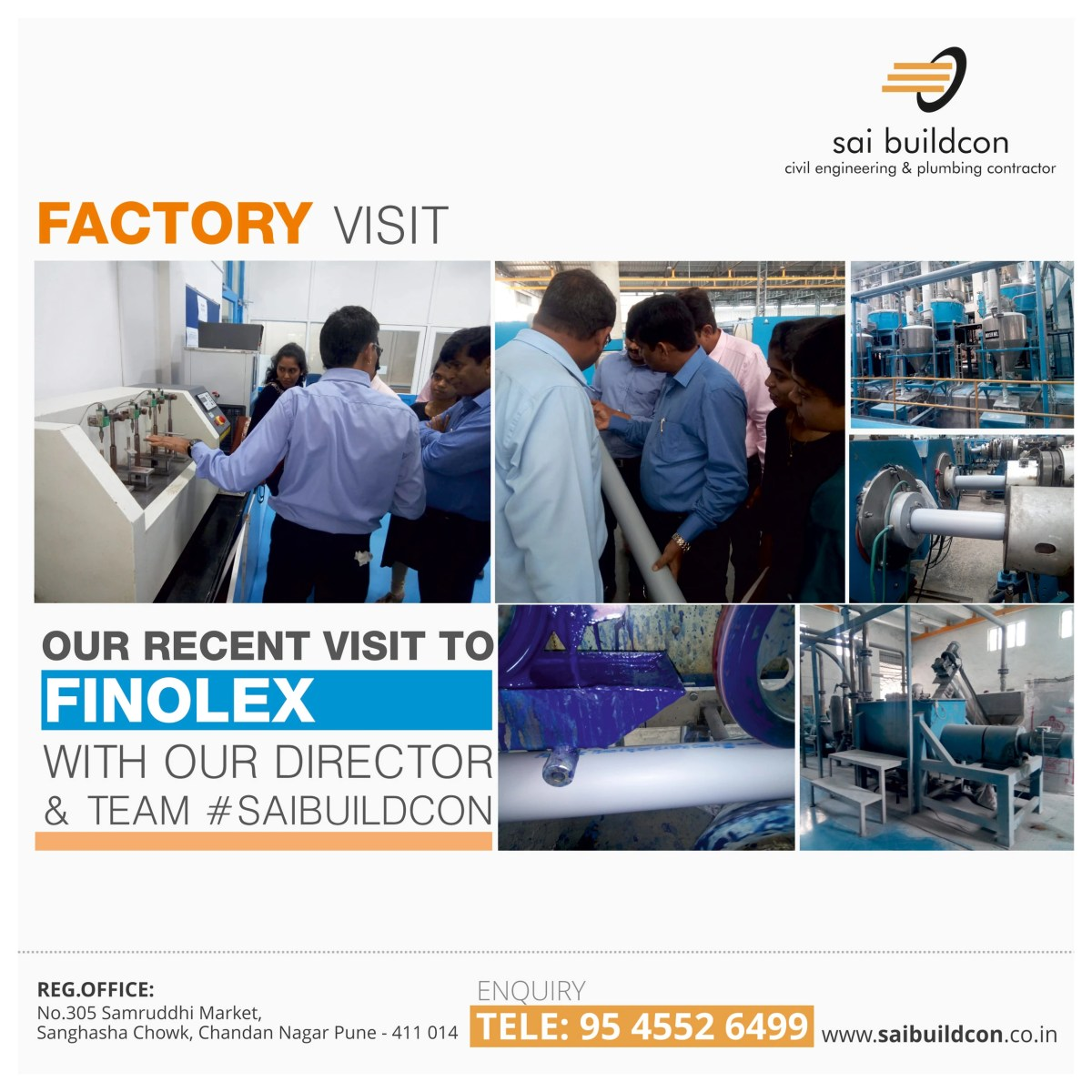 30-July-2018 Site Visit to Finolex by Sai Buildcon Team