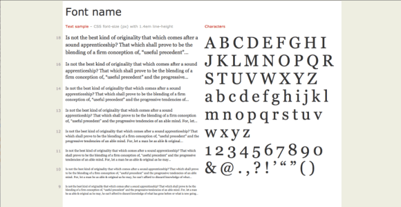 Example of a font specimen page