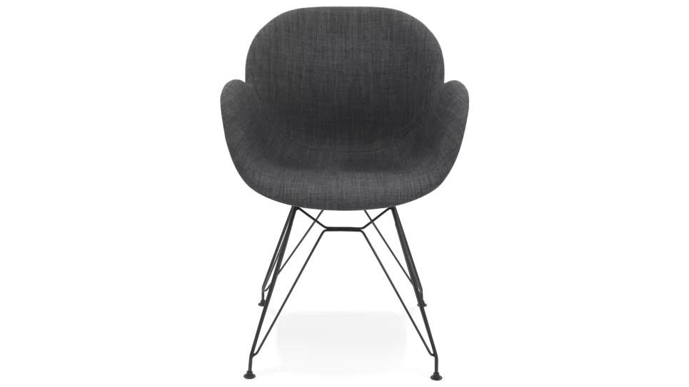 fauteuil scandinave tissu gris pied metal noir cana delorm design