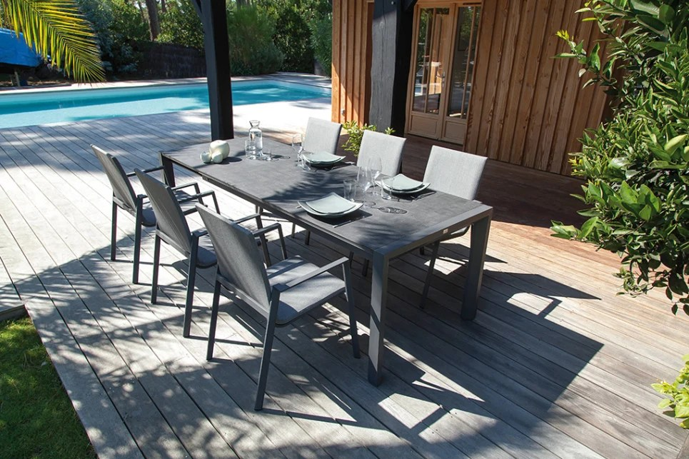 table de jardin extensible anthracite 140 190 plateau trespa valence delorm design