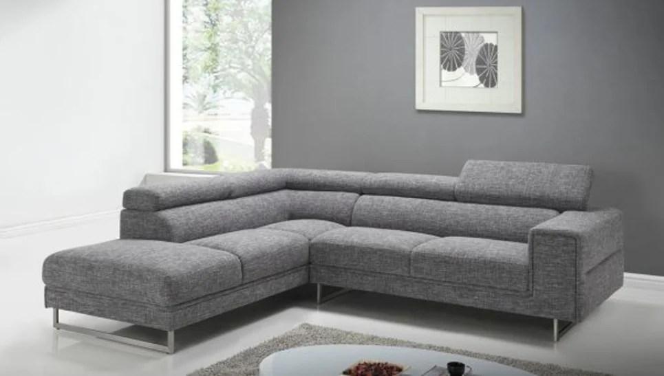 salon canape d angle avec appuis tete en tissu gris