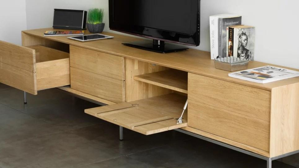 meuble tv en chene massif 2 tiroirs 2 portes rabattables kubico delorm design