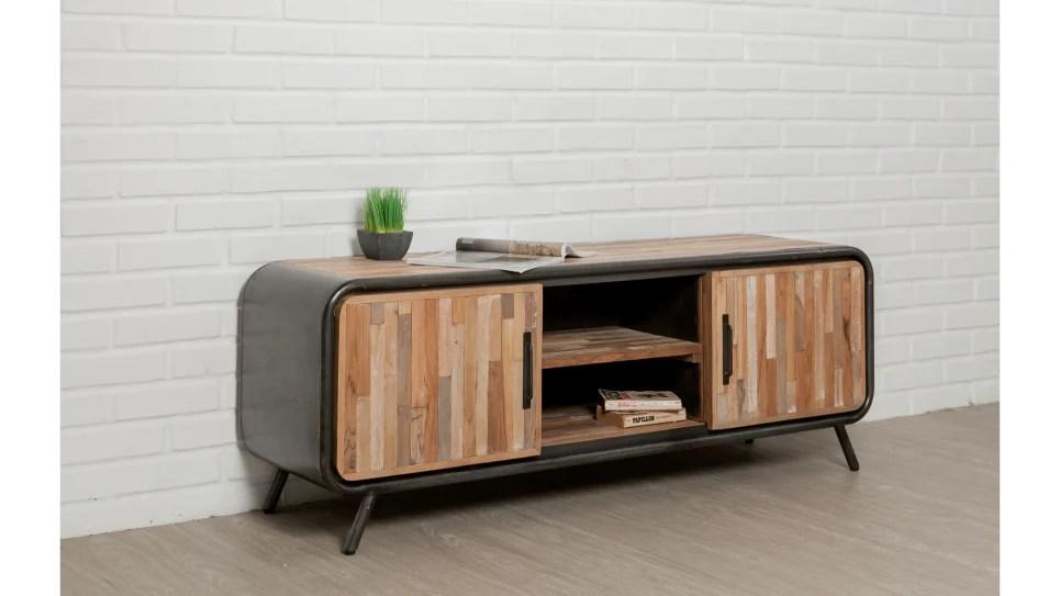 meuble tv 2 portes 2 niches teck recycle 150 cm fusion delorm design