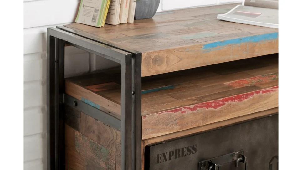 meuble tv 3 tiroirs 1 niche teck recycle 160 cm loft delorm design
