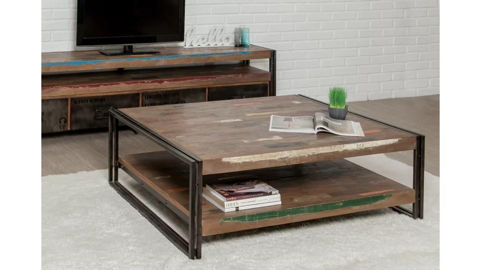 table basse plateau teck recycle 120 x 100 cm loft delorm design