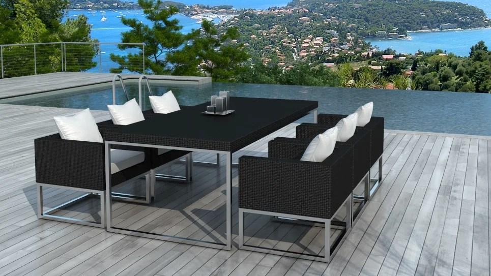 ensemble table de jardin et fauteuils en resine haut de gamme 6 places