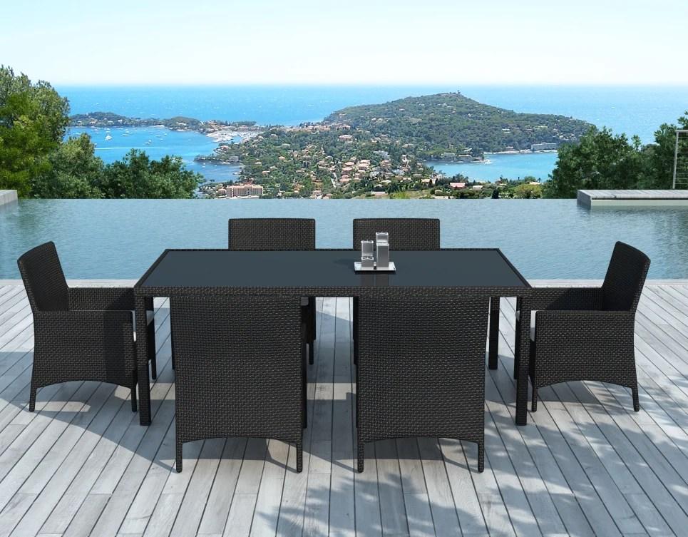 ensemble table et chaises de jardin en resine tressee noire modele escondido