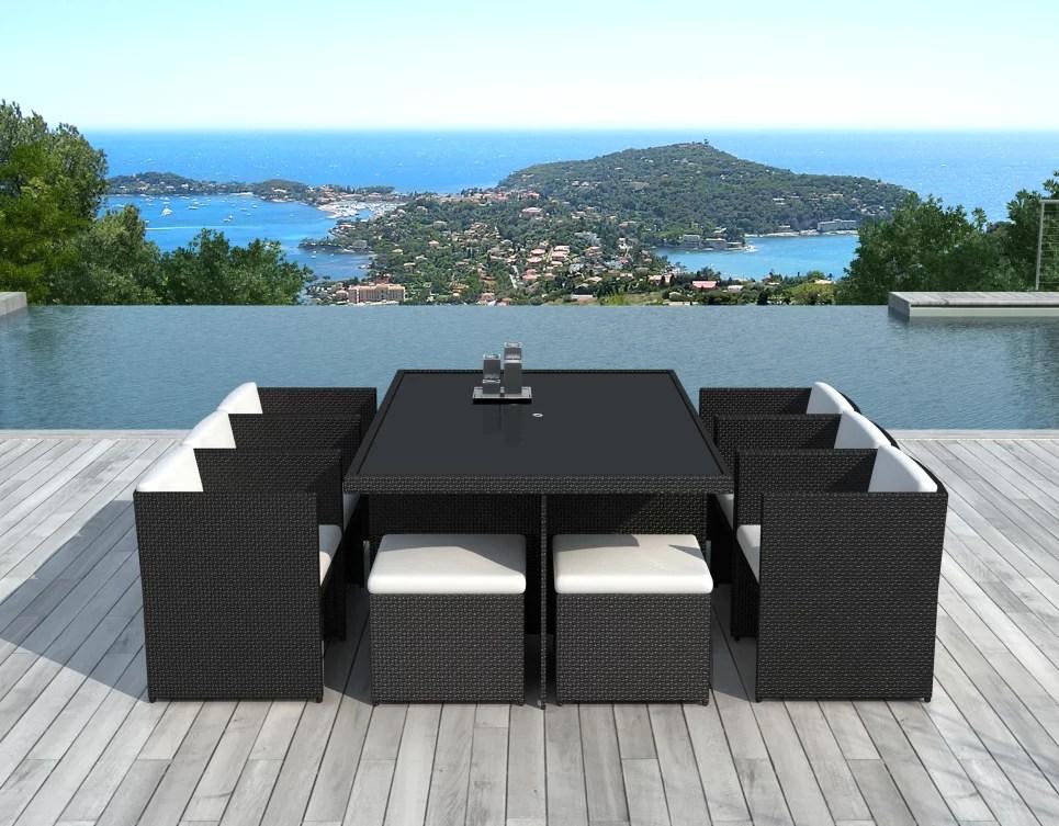 salon de jardin encastrable 10 places en resine tressee noire cancun delorm design