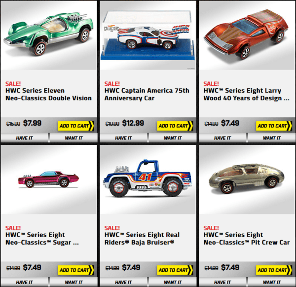 [DEAL] Hot Wheels Collectors, Up To 50% OFF Select Items