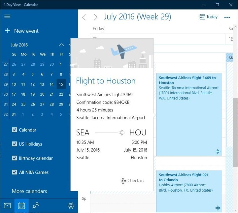 Outlook Calendar travel reservations and package deliveries