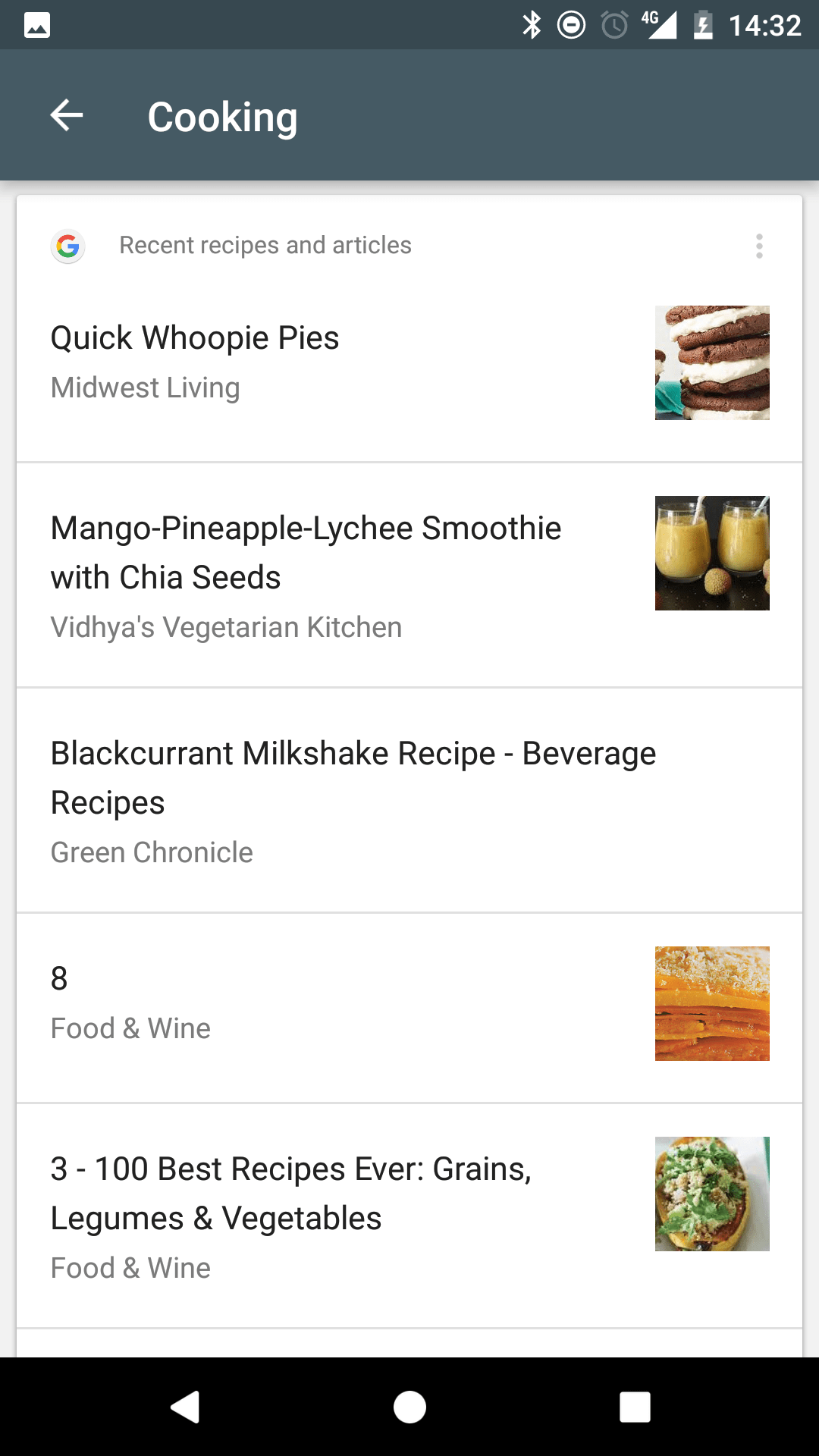 Google Now: New Cooking Card