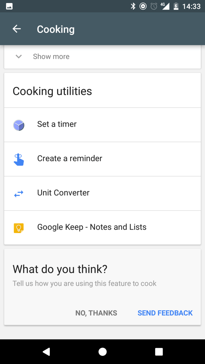 Google Now: Cooking Utilities