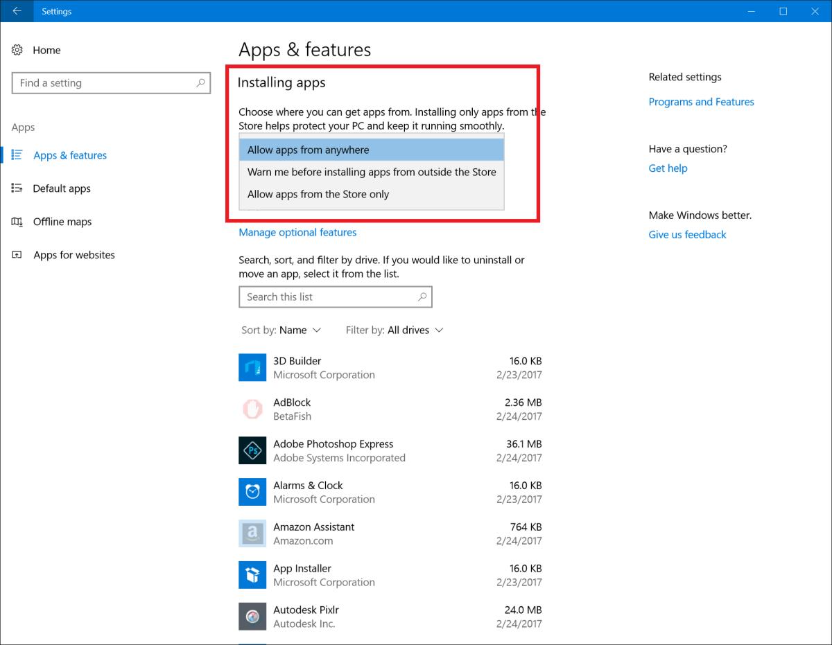 Creators Update Build 15046 Application Install Control