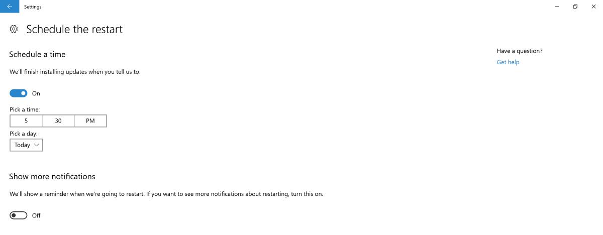 Schedule Windows 10 Update