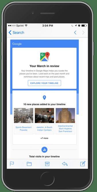 Monthly recap of Timeline in Google Maps