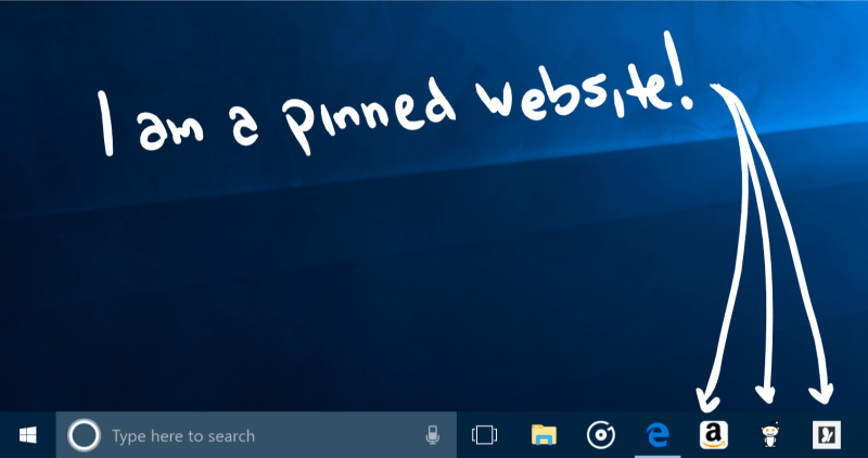 Pin sites to taskbar with Microsoft Edge