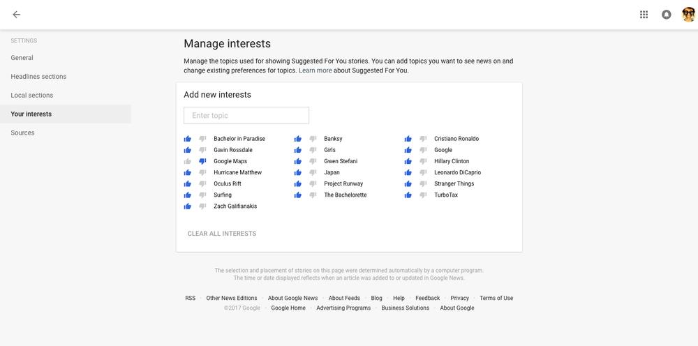 Google News User Settings