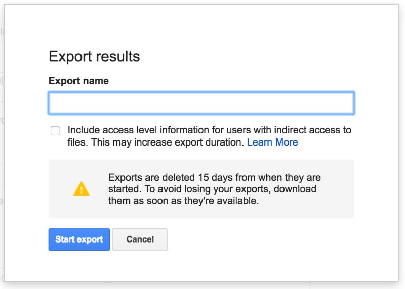 Google Vault export users metadata
