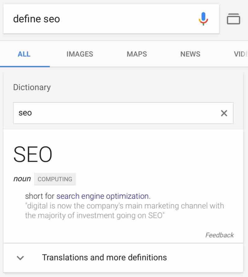 Google search box in disctionary cards