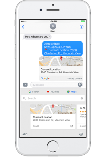 Maps button on GBoard iOS
