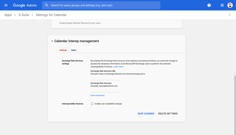 Google Calendar and Microsoft Exchange Interop Settings