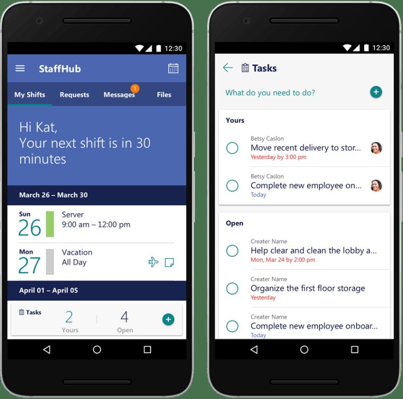 improved Microsoft StaffHub on Android and iOS