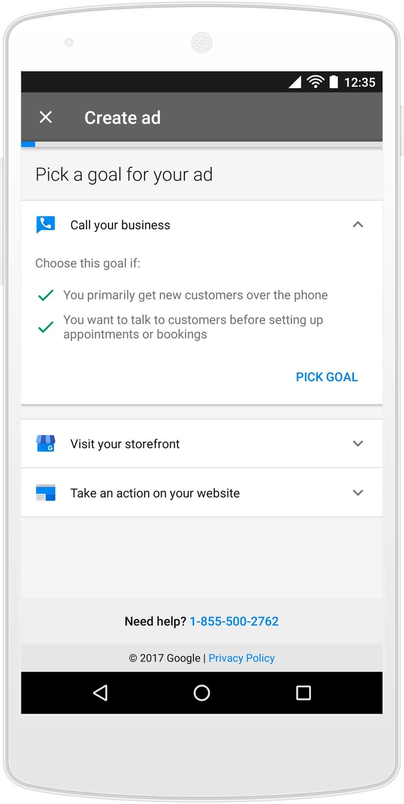 adwords express: take an action on your website goal