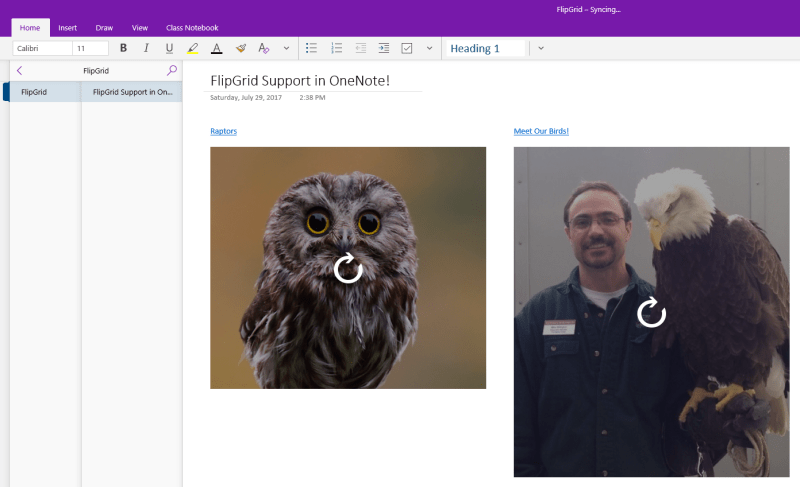 Flipgrid embed support in OneNote