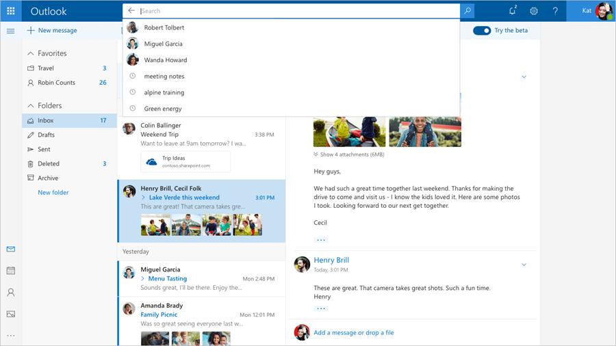 Outlook.com beta UI