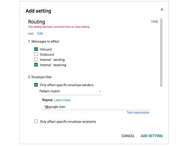 G Suite new Routing Section in Gmail Admin Console