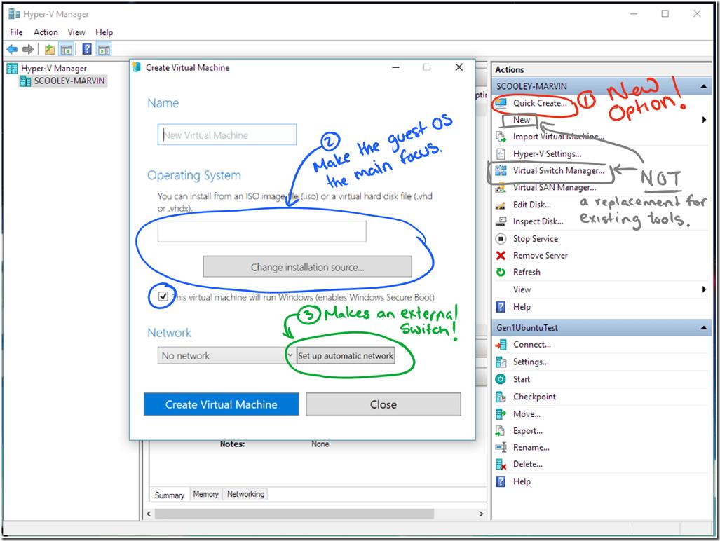 Hyper-V Manager Quick VM Creation