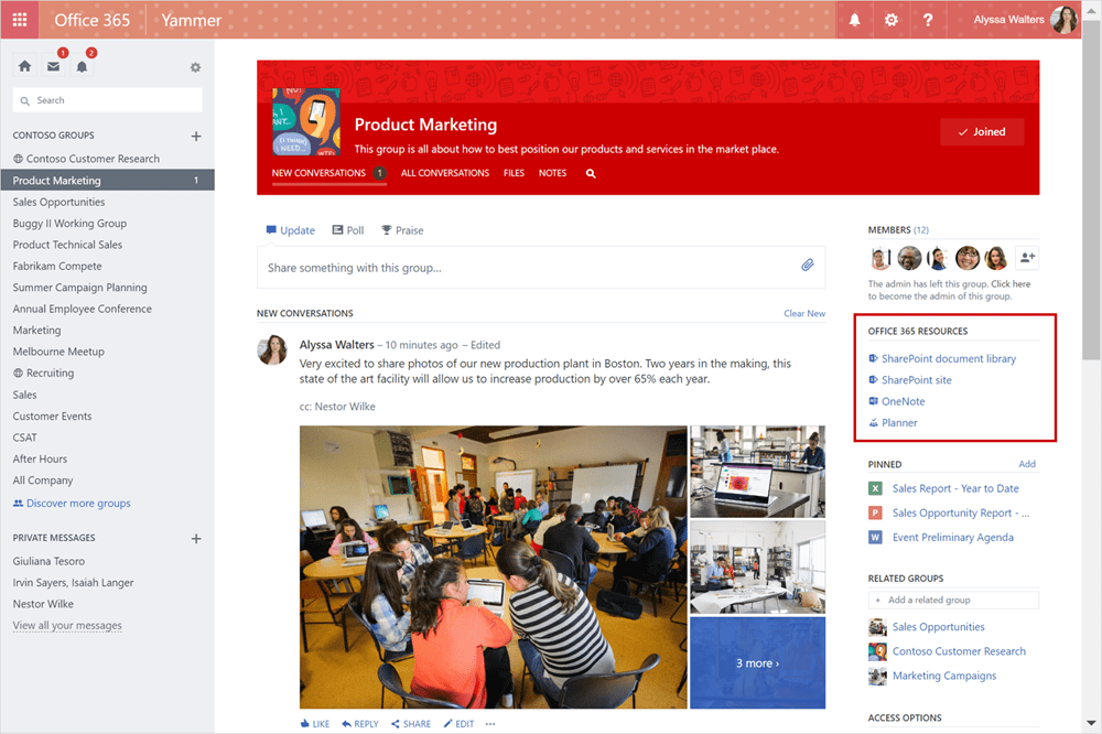 Yammer and Office 365 Groups connects