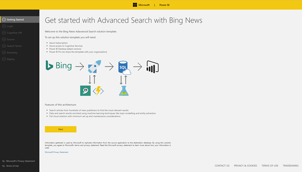 Power BI Advanced Search Solution Template for Bing News