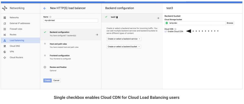 Checkbox to enable Google Cloud CDN Load balancing