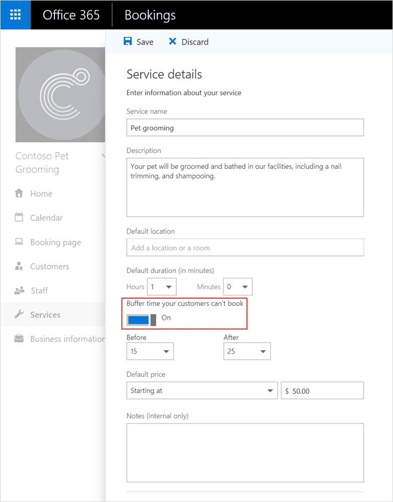 Turn on Buffer time in Microsoft Bookings Services tab