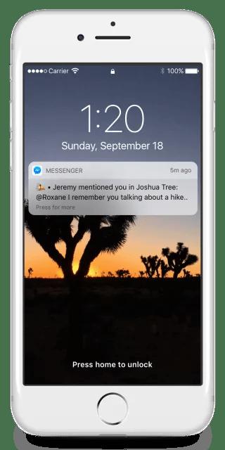 Messenger Reactions Notification on lockscreen