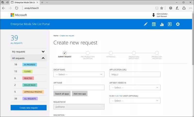 enterprise mode site list portal