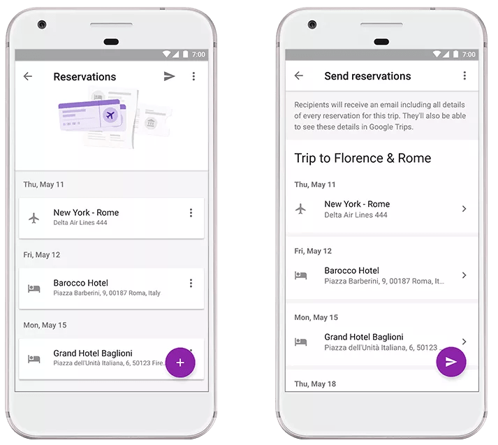 Google Trips: Share and track reservations