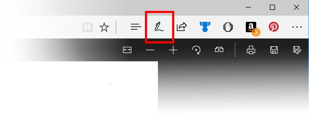 Microsoft Edge PDF Annotation button