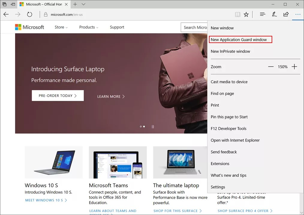 New Application Guard window in Microsoft Edge menu