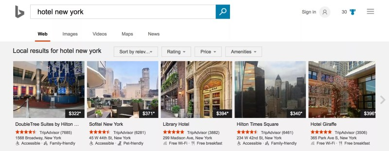 Bing Hotel Search adds new Carousel