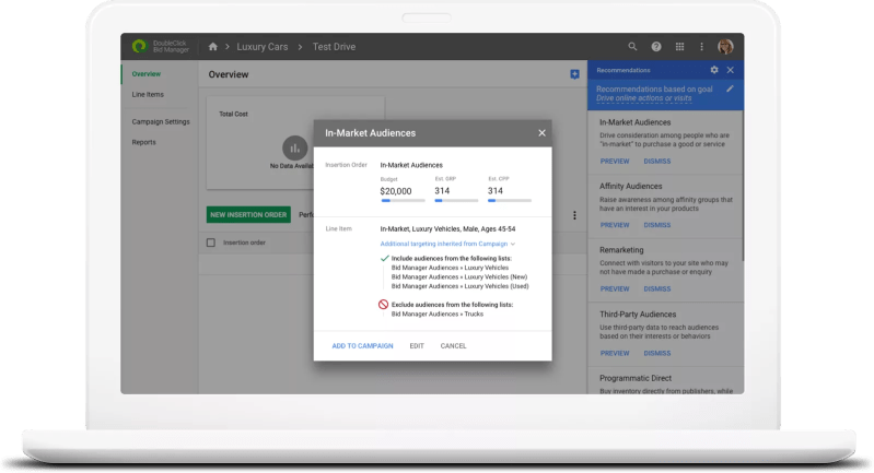ML powesr campaign planning in DoubleClick Bid Manager
