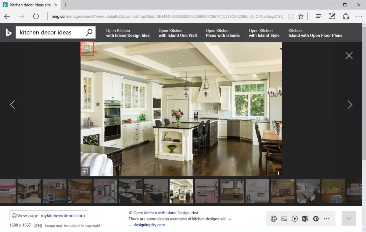 bing visual image search: example kitchen decor ideas