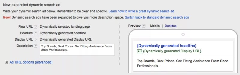 AdWords Expanded Dynamic Search Ads