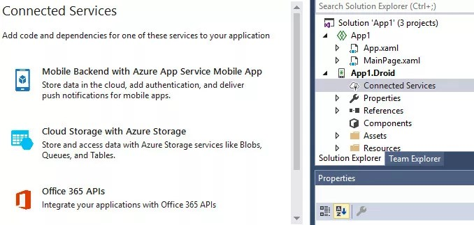 visual studio mac preview 4 connected services