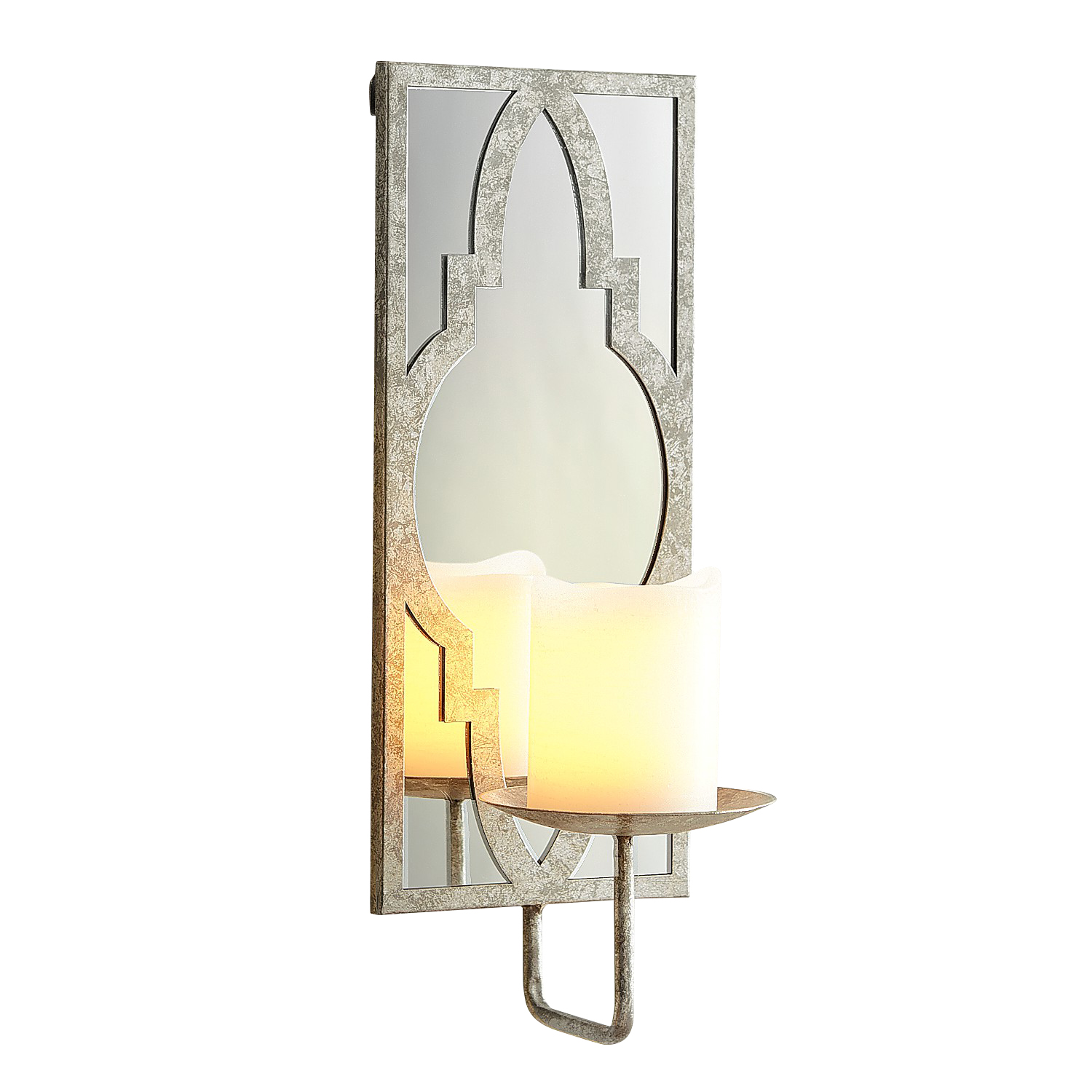Silver Mirrored Candle Holder Wall Sconce - Pier1 Imports on Silver Wall Sconces For Candles id=63756