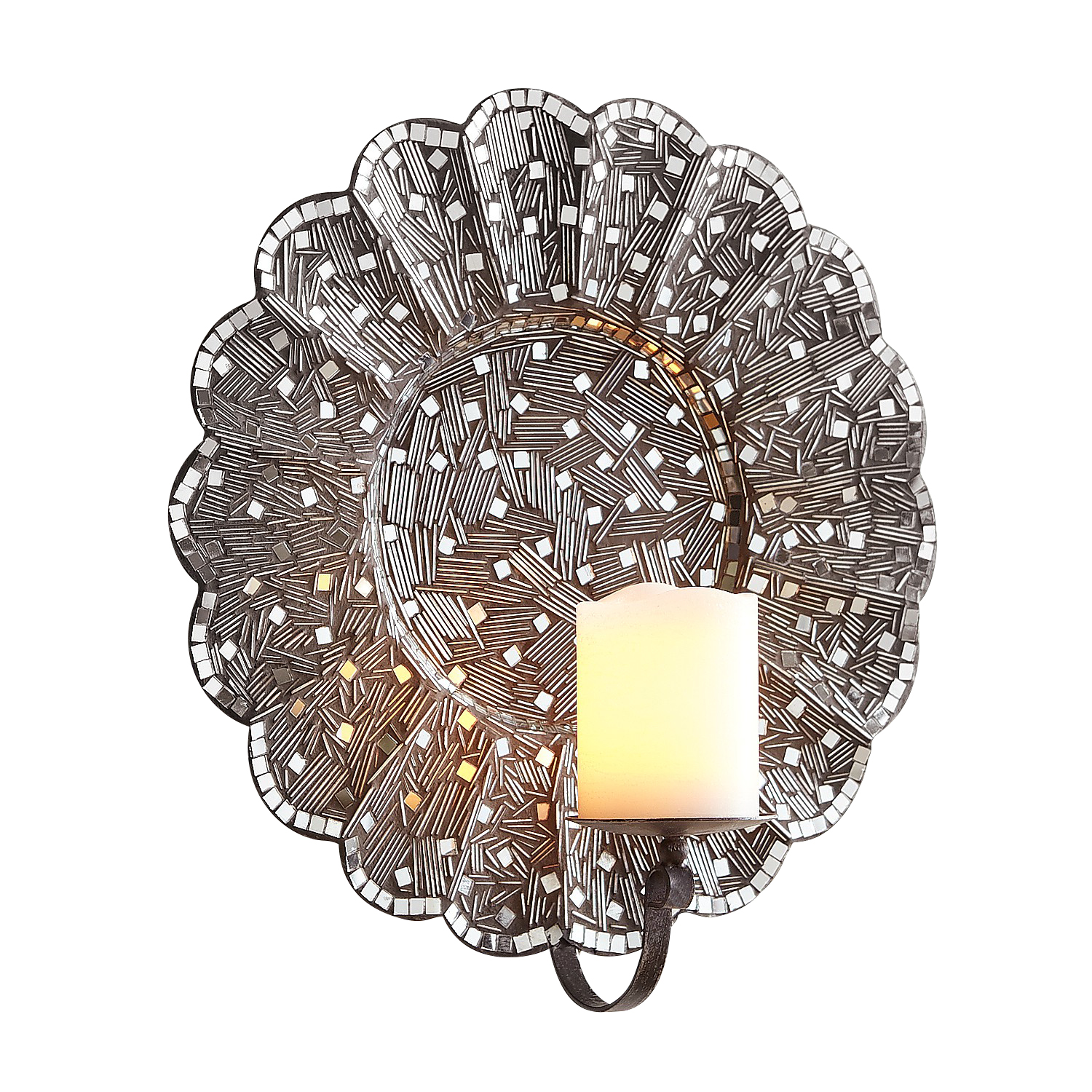 Silver Mosaic Flower Candle Wall Sconce - Pier1 on Candle Wall Sconces With Flowers id=37036
