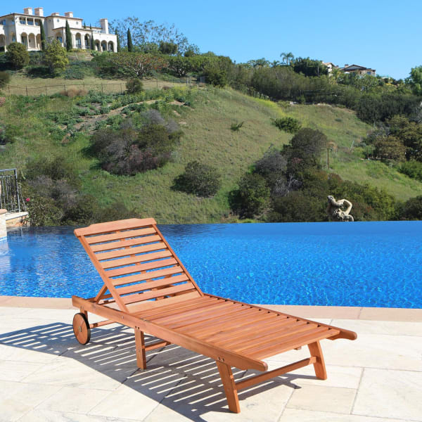brown outdoor wood chaise lounge