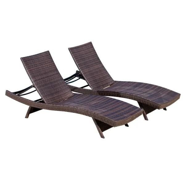 brown outdoor chaise lounges set of 2